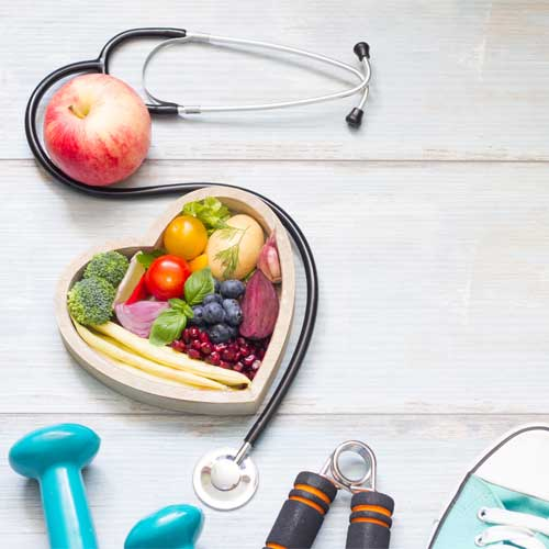 vegetables and workout equipment